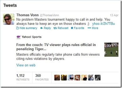 Thomas Vonn Tiger Woods tweet