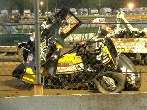 Jason Leffler Crash Sprint Car