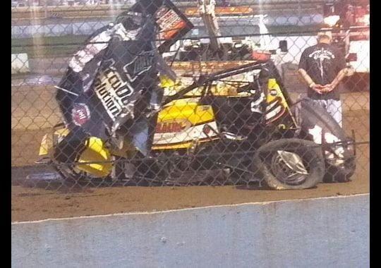 Jason Leffler Crash Sprint Car