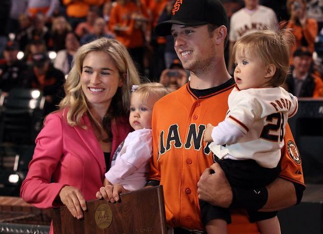 Kristen Posey and Buster Posey with their children