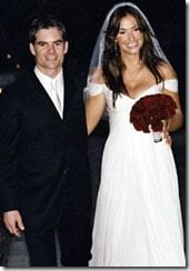 Jeff Gordon Ingrid Vandebosch wedding pic