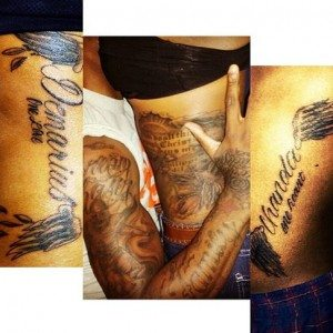 Demarius Reed girlfriend Chanda Blackamore tattoos