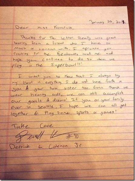 Derrick Coleman letter to Riley Kovalcik