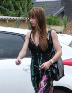 Leah Skye Malan, girlfriend of Oscar Pistorius, leaving a salon in her hometown of Potchefstroom, South Africa.