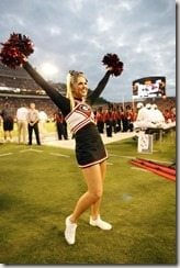 September 27, 2008: A UGA cheerleader performs in the Alabama Crimson Tide 41-30 victory over the Georgia Bulldogs at Sanford Stadium in Athens, GA.