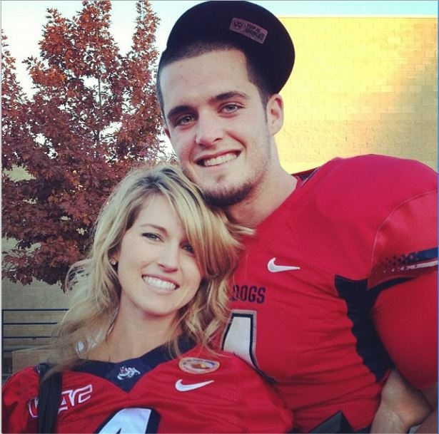 Derek Carr, the former Fresno State player is the quarterback generating the most buzz in the days prior to the draft, and with him comes his pretty wife Heather Neel aka Heather Carr #derekcarr #heatherneel #heathercarr #2014nfldraft #fresnostate @fabwags