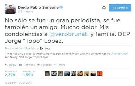 Diego simeone Jorge topo lopez tweet