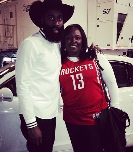 3bd1eb7593ab Meet 55-year-old Monja Willis the mother of 25-year-old NBA star James  Harden. Her Houston Rockets player son scored 32 points with three  rebounds