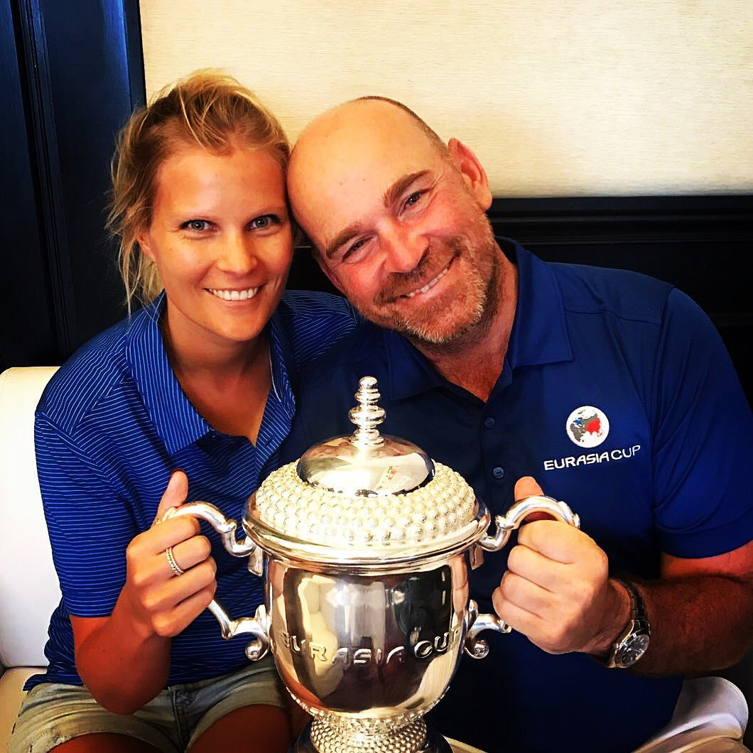 Thomas Bjorn's pretty girlfriend Grace Barber